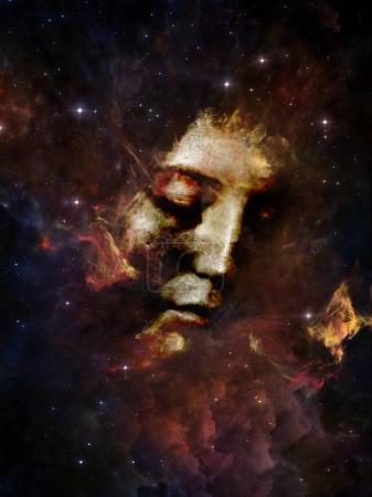 Photo pour Will Universe Remember Us series. Composition du visage de la femme, de la nébuleuse et des étoiles appropriée comme toile de fond pour les projets sur l'univers, la nature, l'esprit humain et l'imagination - image libre de droit