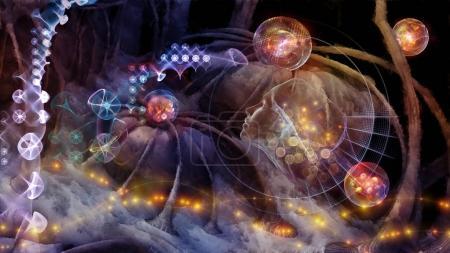 Photo pour Série de rêves. Illustration 3D d'interactions neuronales surréalistes sur le sujet de la science, de l'imagination et des technologies modernes . - image libre de droit