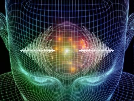 Foto de Ilustración 3D de la cabeza humana y ondas de energía sobre el tema de los poderes de la mente - Imagen libre de derechos