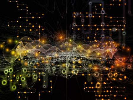 Photo for Connected World series. Interplay of network diagrams , hi-tech symbols and fractal patterns  on the subject of modern technology, education and computer communications - Royalty Free Image