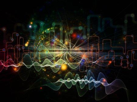 Foto de Serie de mundo conectado. Visualmente atractivo telón de fondo hace de diagramas de red, símbolos de alta tecnología y patrones fractales para obras de comunicaciones modernas de la tecnología, la educación y la informática - Imagen libre de derechos