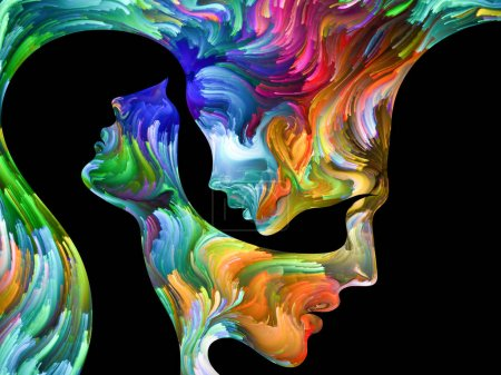 Photo for Colors In Us series. Interplay of Human profiles and swirls of colorful paint on the subject of emotion, passion, desire, feelings, inner world, imagination and creativity - Royalty Free Image