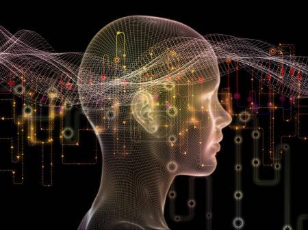 Foto de Serie de mundo conectado. Diseño compuesto por diagramas de red, símbolos de alta tecnología y patrones fractales como una metáfora sobre el tema de las comunicaciones modernas tecnología, educación y equipo - Imagen libre de derechos