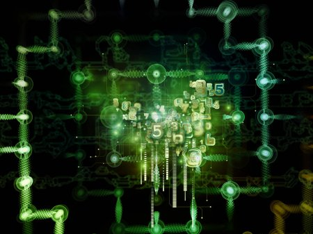 Foto de Serie de mente digital. Diseño abstracto hecho de silueta humana cara símbolos de y tecnología en materia de Ciencias de la computación, inteligencia artificial y las comunicaciones - Imagen libre de derechos