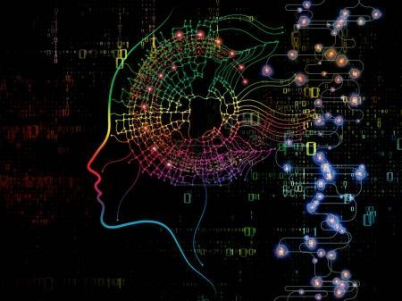 Photo pour Série Digital Mind. Composition de la silhouette du visage humain et des symboles technologiques ayant un rapport métaphorique avec l'informatique, l'intelligence artificielle et les communications - image libre de droit