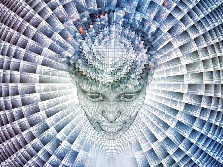 Photo pour Rendu 3D - série Mind Field. Conception de fond de la tête de treillis métallique modèle humain et motifs fractaux sur le sujet de l'intelligence artificielle, la science et la technologie - image libre de droit