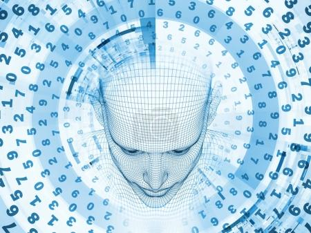 Photo for 3D Rendering - Mind Field series. Background composition of  head of wire mesh human model and fractal patters on the subject of artificial intelligence, science and technology - Royalty Free Image