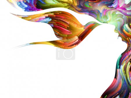 Photo for Bird of Mind series. Background design of woman and bird profile executed with colorful paint on the subject of creativity, imagination, spirituality and art - Royalty Free Image