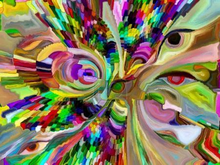 Photo pour Série Vitrail Forever. Composition de fragments de couleur, de motifs de forme et de symboles appropriés comme toile de fond pour les projets sur l'art, la division de l'espace et le design - image libre de droit