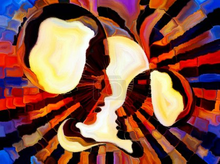 Photo pour Série Vitrail Forever. Profils des enseignants et des élèves divisés et fusionnés par la réalité mosaïque au sujet de l'unité d'existence. - image libre de droit