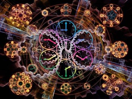 Photo pour Série Time Connection. Composition des symboles du temps et de la géométrie fractale pour les projets sur le passé, l'avenir, les voyages dans le temps et la science moderne - image libre de droit
