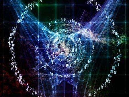 Photo pour Math Universe series. Contexte abstrait composé de chiffres et d'éléments d'espace pour une utilisation avec des projets sur les mathématiques, les sciences, l'éducation et la technologie moderne - image libre de droit