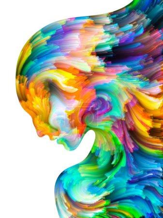 Foto de Serie Pintura facial. Composición de fondo del colorido retrato humano sobre el tema del arte, la imaginación, la creatividad y el feminismo - Imagen libre de derechos