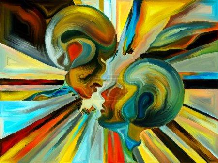 Foto de Vidrieras para siempre. Disposición de perfiles humanos, símbolos y patrones de color sobre el tema del diseño, la creatividad y la imaginación - Imagen libre de derechos
