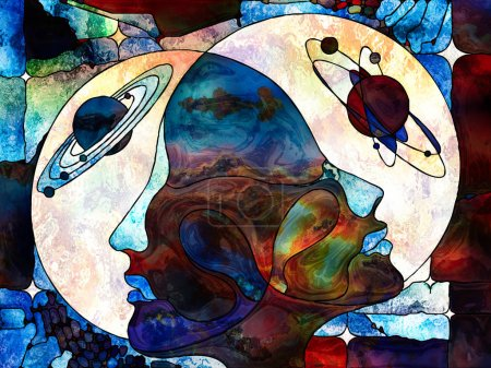 Photo for Stained Glass Forever series. Soul mate heads looking into each other, surrounded by colorful patterns and symbols of the Universe on the subject of knowledge, internal reality and mutual unity. - Royalty Free Image