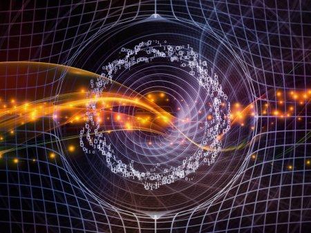 Photo pour Technologie de la série Numéros. Conception de fond de chiffres, de grilles et de lumières sur la technologie, la science et le monde de l'information informatique - image libre de droit