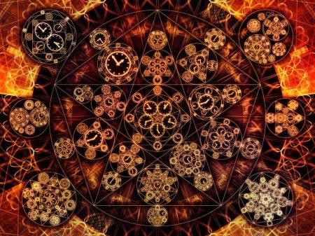 Photo pour Circles de séries chronologiques. Conception de fond de symboles d'horloge et d'éléments fractaux sur le sujet de la science, de l'éducation et de la prédiction - image libre de droit