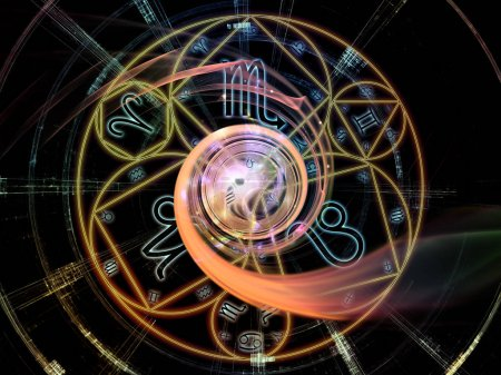 Photo for Astral Connection series. Creative arrangement of Zodiac and fractal geometry symbols as a concept metaphor on subject of magic, sacred, occult and astrology - Royalty Free Image