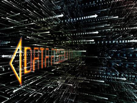 Photo pour Série d'espace virtuel. Composition abstraite de la conception de fractales 3d en perspective pour les projets sur les technologies de l'information, des ordinateurs et des communications - image libre de droit