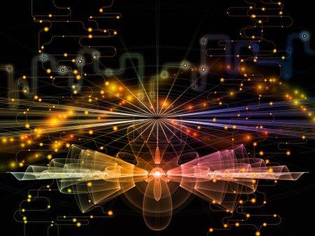 Photo pour Série Monde Connecté. Composition de diagrammes de réseau, de symboles high-tech et de motifs fractaux appropriés comme toile de fond pour les projets sur la technologie moderne, l'éducation et les communications informatiques - image libre de droit