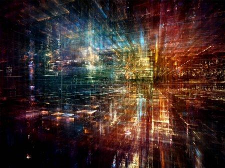 Foto de Serie de ciudad digital. Creativo arreglo de tres dimensiones fractales y luces para el tema de ordenadores, ciencia, realidad virtual y tecnología moderna - Imagen libre de derechos