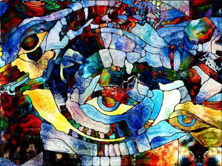 Photo pour Série Vitrail Forever. Fond composé de fragments de couleur, de motifs de forme et de symboles et adapté à une utilisation dans les projets sur l'art, la division de l'espace et le design - image libre de droit