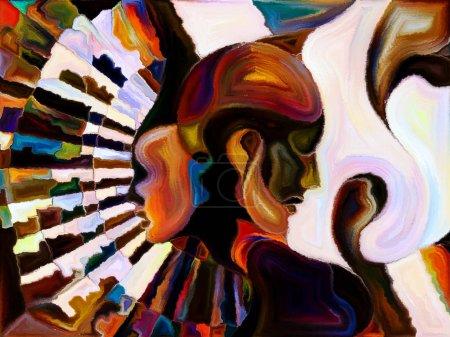 Foto de Vidrieras para siempre. Interacción de perfiles humanos, símbolos y patrones de color sobre el tema del diseño, la creatividad y la imaginación - Imagen libre de derechos
