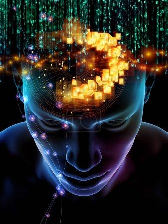 Photo pour Elements de la série Mind. Illustration 3D de la tête humaine et des symboles de la technologie au sujet de la science, de l'éducation et des pouvoirs de l'esprit - image libre de droit