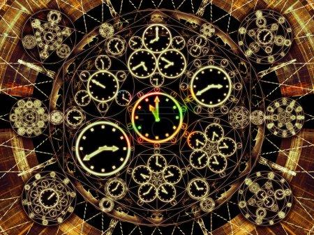 Photo pour Circles de séries chronologiques. Conception abstraite faite de symboles d'horloge et d'éléments fractaux sur le sujet de la science, de l'éducation et de la prédiction - image libre de droit