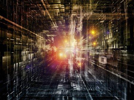 Photo pour Série Espace virtuel de technologie. Interaction des éléments fractaux et abstraits dans l'espace 3D sur la science, l'éducation, la communication et la technologie moderne. - image libre de droit