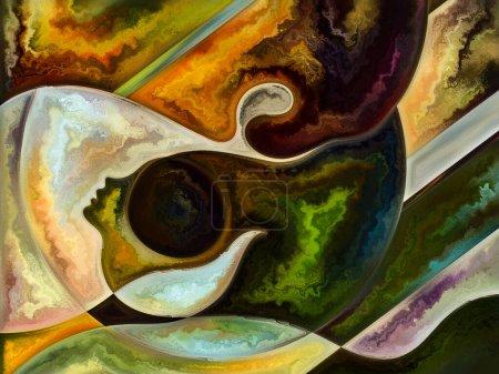 Photo pour Série Human Texture. Composition du visage humain, couleurs riches, textures organiques, courbes fluides pour des projets sur le monde intérieur, l'esprit, l'âme et la nature - image libre de droit