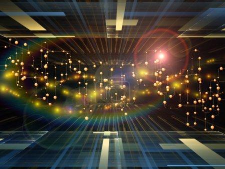 Foto de Composición de redes abstractas, elementos luminosos y fractales sobre el tema de la comunicación digital, Internet y las tecnologías futuras - Imagen libre de derechos