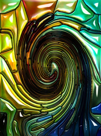 Photo for Spiral Twirl series. Background design of Stained glass swirl pattern of color fragments on the subject of colorful design, creativity, art and imagination - Royalty Free Image