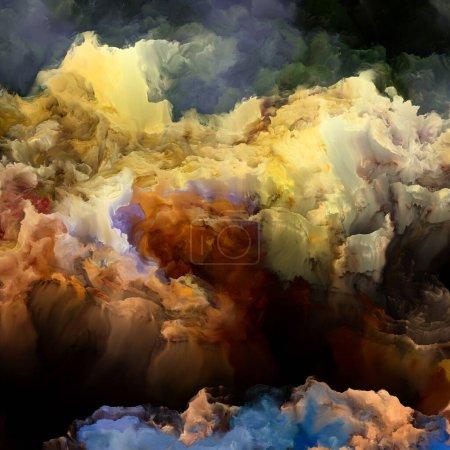 Photo pour Série Dreams of Upper Atmosphere. Toile de couleurs fractales sur le sujet de la peinture numérique, des mondes étrangers et de l'art abstrait . - image libre de droit