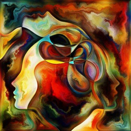 Photo pour Flux interne. Couleurs en nous série. Composition de silhouettes humaines, textures artistiques et couleurs interagissent avec la vie, le théâtre, la poésie et la perception - image libre de droit