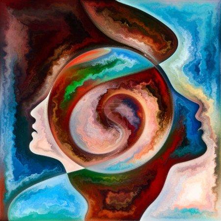 Foto de Rainbow Mind. Colores en nosotros serie. Diseño de telón de fondo de siluetas humanas, texturas de arte y colores interactúan para obras sobre la vida, el drama, la poesía y la percepción - Imagen libre de derechos