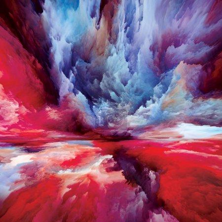 Photo pour Paysage imaginaire. Voir la série Never World. Fond de couleurs, de textures et de nuages dégradés à utiliser dans des projets sur la vie intérieure, le théâtre, la poésie, l'art et le design - image libre de droit