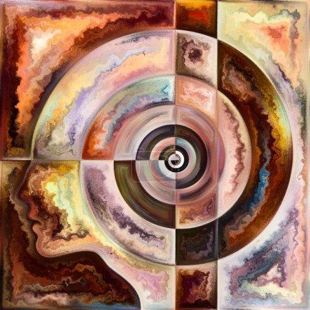 Photo pour Série spirale intérieure. Interaction des contours du visage humain et des structures géométriques sur le sujet de l'esprit, de l'âme, du monde intérieur et de la conscience . - image libre de droit