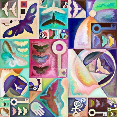 Photo pour Herbier spectral. Secret Password series. abstraction artistique composée de silhouettes humaines, textures artistiques et couleurs interagissent sur le thème de la vie intérieure, drame, poésie et perception - image libre de droit