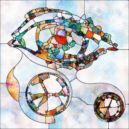 Photo pour Symboles des yeux et de l'horloge exécutés dans un style vitrail sur le thème du mysticisme et du concept de subjectivité du temps et de dépendance de l'observateur - image libre de droit