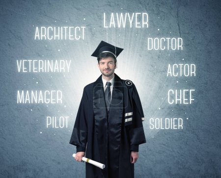 Photo for Graduete person looking for professions written above his head - Royalty Free Image