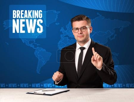 Photo for Television presenter in front telling breaking news with blue modern background concept - Royalty Free Image