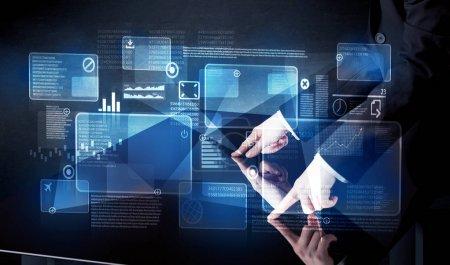 Interface de table intelligente de technologie de pressage homme