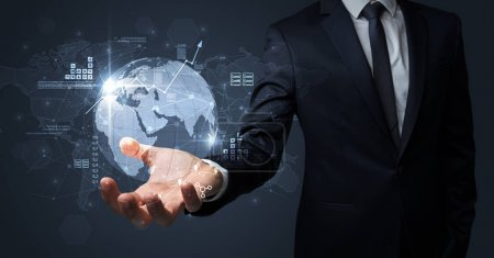 Photo for Businessman handing transparent global information flow concept on his hand - Royalty Free Image