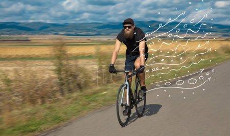 Photo pour Mode personne à vélo dans la nature avec concept doodle - image libre de droit
