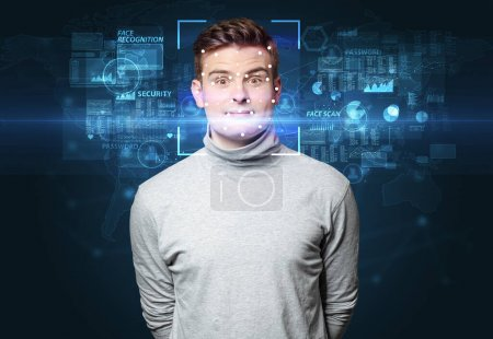 Photo for Biometric verification. Face recognition with several points - Royalty Free Image