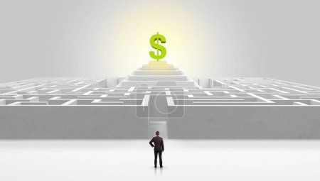 Man standing outside of a maze with profit concept on the middle