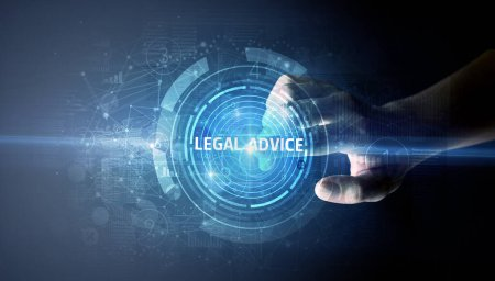 Photo pour Toucher à la main Bouton Conseils juridiques, concept de technologie d'affaires moderne - image libre de droit