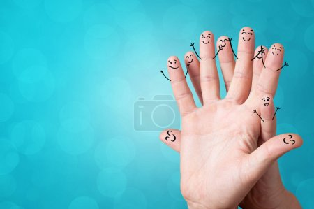 Photo for Joyful fingers smiling with colorful background concept - Royalty Free Image