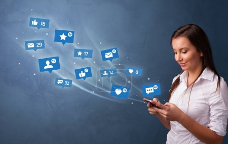 Young person using phone with social media concept